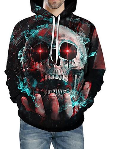 e6455944d9f2 Men s Plus Size Long Sleeve Loose Hoodie - 3D   Skull Print Hooded Blue 4XL    Fall   Winter 6969164 2019 –  35.69