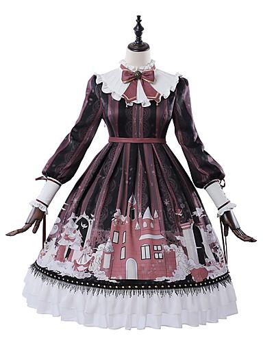 cheap Lolita Dresses-School Lolita Victorian Dress Girls' Female Japanese Cosplay Costumes Red Geometric Pattern Bishop Sleeve Long Sleeve Knee Length / Classic Lolita Dress