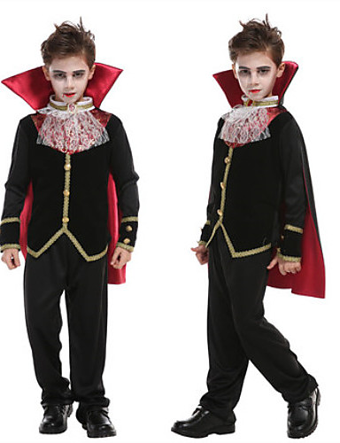 cheap Kids Halloween Costumes-Vampire Cosplay Costume Masquerade Teenager Boys' More Uniforms Halloween Halloween Masquerade Festival / Holiday 75g / m2 Polyester Knit Stretch Satin Black Easy Carnival Costumes Simple / Coat