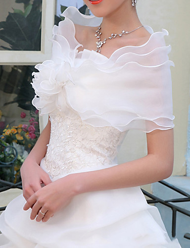 cheap Wedding Wraps-Sleeveless Shawls Organza / Cotton Wedding / Party / Evening Women's Wrap With Solid