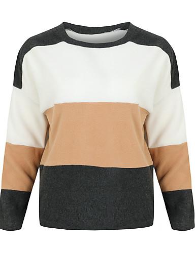 billige Dametopper-T-skjorte Dame - Ensfarget, Lapper Grunnleggende BLå & Hvit Lysegrønn