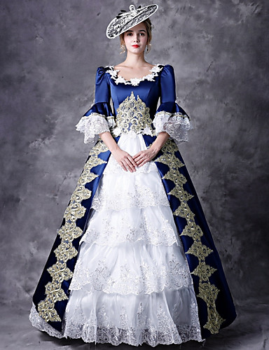 943180cbb9 Victorian Δούκισσα Rococo Barroco Victorian 18ος αιώνας Τετράγωνη Λαιμόκοψη  Στολές Γυναικεία Φορέματα Σύνολα Κοστούμι πάρτι Χορός μεταμφιεσμένων Μπλε  ...