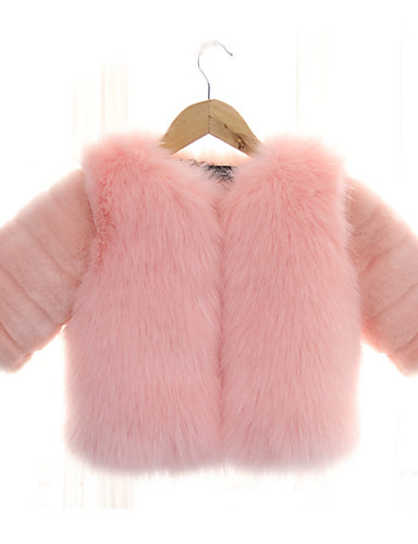 62d3b6d7d4b6 Kids   Toddler Girls  Basic Solid Colored Long Sleeve Faux Fur ...