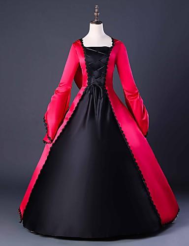 preiswerte Cosplay & Kostüme-Gothik Lolita Umhänge Gothic Mittelalterlich Kleid Party Kostüme Maskerade Ballkleid Damen Kostüm Rot Vintage Cosplay Party Abiball Langarm Boden-Länge Ballkleid