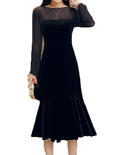Womens Daily Basic Little Black Dress Solid Colored Black L Xl