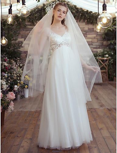 preiswerte Beach Wedding Dresses-A-Linie V-Ausschnitt Boden-Länge Spitze / Tüll Maßgeschneiderte Brautkleider mit Applikationen / Spitze durch LAN TING Express