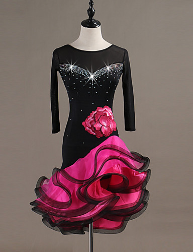cheap Latin Dancewear-Latin Dance Dress Crystals / Rhinestones Women's Performance Long Sleeve Spandex Organza