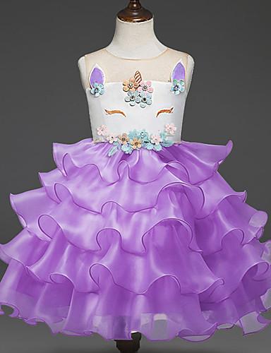 preiswerte Unicorn Dresses-Kinder Mädchen Grundlegend Unicorn Solide Patchwork Kurzarm Kleid Blau