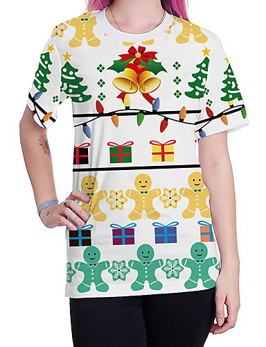 preiswerte Weihnachts-Shop-Damen Cartoon Design - Street Schick T-shirt Grün