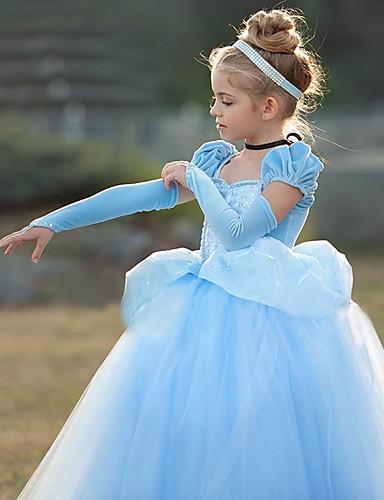 cheap Movie & TV Theme Costumes-Princess Cinderella Vintage Cosplay Lolita Dress Girls' Costume Purple / Blue Vintage Cosplay Short Sleeve