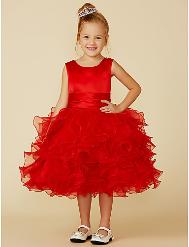 8b2fff0bf7ee3 Princess Knee Length Flower Girl Dress - Satin / Tulle Sleeveless Jewel  Neck with Sash / Ribbon / Flower by LAN TING BRIDE® 4216454 2019 – $69.99