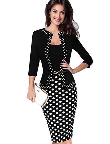6393b01267 Mujer Fiesta Trabajo Chic de Calle Sofisticado Algodón Corte Bodycon Vaina  Vestido - Retazos