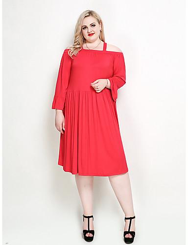 055842ee2761a Mujer Boho   Elegante Tallas Grandes Corte Ancho Pantalones - Un Color Rojo    Con Tirantes   Festivos 7005141 2019 –  30.44