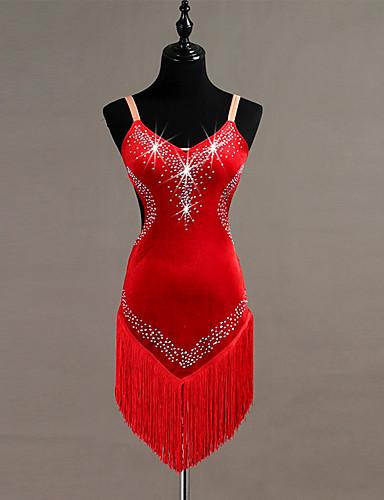 povoljno Odjeća za latino plesove-Latino ples Haljine Žene Trening Pleuche S resicama / Kristali / Rhinestones Bez rukávů Visok Haljina