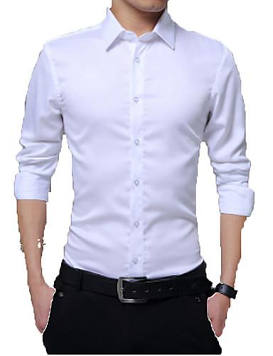 povoljno Bijele košulje-Muškarci Dnevno Majica Jednobojni Dugih rukava Tops Lan Posao Osnovni Obala Crn Red / Rad