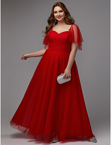 5a3580d4796 Plus Size A-Line Sweetheart Neckline Floor Length Tulle Prom   Formal  Evening Dress with Pleats by TS Couture® 6970785 2019 –  79.99