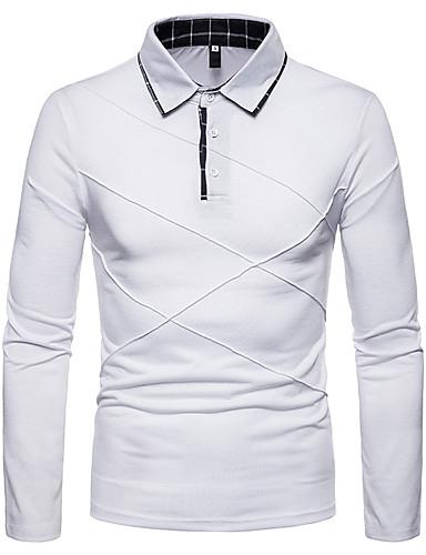 preiswerte Herren Polo Shirts-Herrn Solide - Grundlegend / Street Schick Polo Schwarz