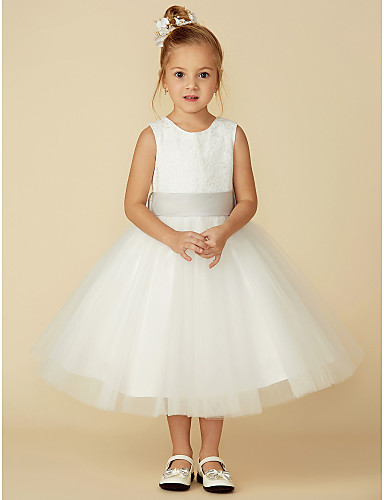 956e55f10de2 A-Line Tea Length Flower Girl Dress - Lace / Tulle Sleeveless Jewel Neck  with