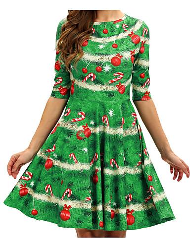 preiswerte Weihnachts-Shop-Damen Party Elegant Hülle Kleid Geometrisch Solide Übers Knie Hohe Taillenlinie / Sexy
