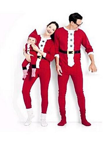 preiswerte FORBABYKIDS-Familienblick Grundlegend Weihnachten Alltag Einfarbig Weihnachten Langarm Kleidungs Set Rote