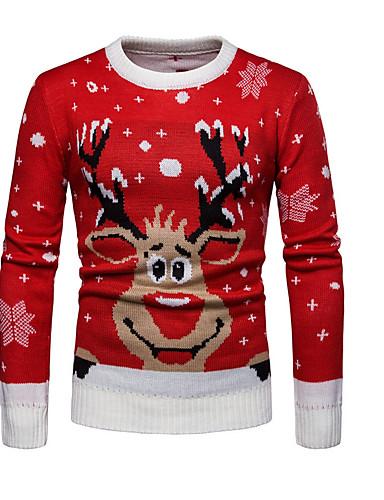 levne Vánoce-Pánské Vánoce / Denní Základní Geometrický / Zvíře Dlouhý rukáv Standardní Rolák Svetrový svetr Rubínově červená M / L / XL