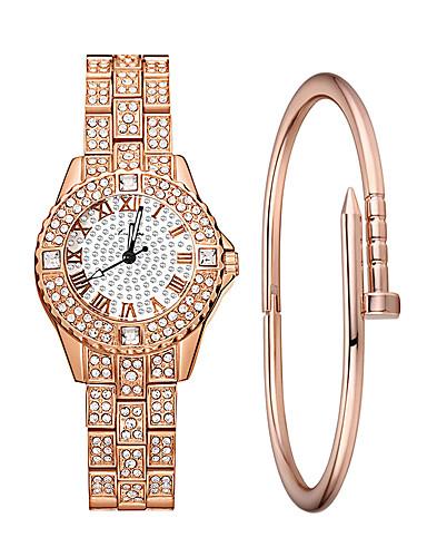 Žene Ručni satovi s mehanizmom za navijanje Diamond Watch Kvarc Srebro / Zlatna / Rose Gold 30 m Vodootpornost imitacija Diamond Analog dame Luksuz Moda - Zlato Pink Rose Gold