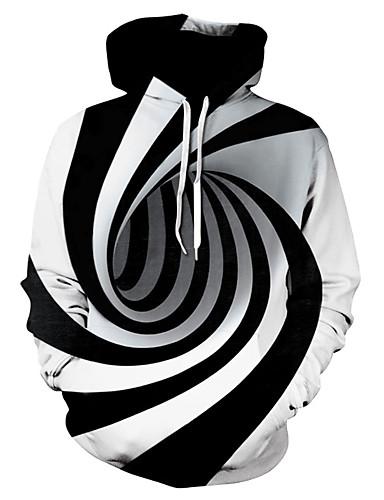 billige Hettegensere og gensere til herrer-Herre Store størrelser Grunnleggende Med hette Hattetrøje Stripet / Fargeblokk / 3D