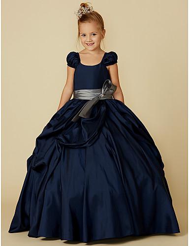 levne Krásné šaty-Plesové šaty Na zem Šaty pro květinovou družičku - Taft Krátký rukáv Scoop Neck s Mašle / Pásek podle LAN TING BRIDE®