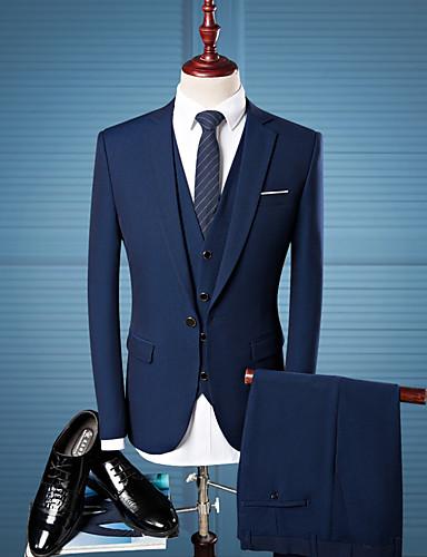 Tuxedos Kroj po mjeri / Standardni kroj Stepenasti Droit 1 bouton Vuna / Poliester Jednobojni / Plaid / Check