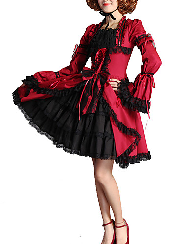 cheap Lolita Dresses-Artistic / Retro Sweet Lolita Dress Girls' Female Lace Japanese Cosplay Costumes Red Solid Colored Vintage Flare Sleeve Long Sleeve Knee Length
