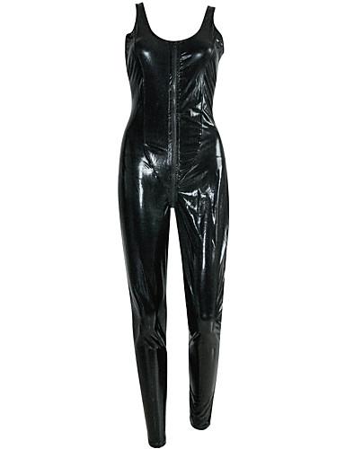 Izgledi Catsuit Odijelo za kožu Cosplay Djevojka za motocikle Odrasli Srednja škola Eko koža Cosplay Nošnje Žene Crn Jednobojni Maškare