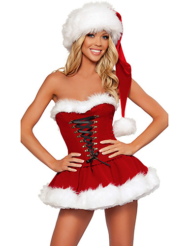 cheap Christmas Costumes-Mrs.Claus Costume Santa Clothes Women's Christmas Festival / Holiday Polyster Red Women's Carnival Costumes Solid Colored Holiday Christmas / Dress / Hat / Dress / Hat