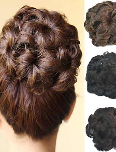 cheap 11.11 - Wigs & Hair Pieces Best Sale-Wedding Bridal Updo Chignon Bun Flower Clip Synthetic Culry Hair Extensions More Colors
