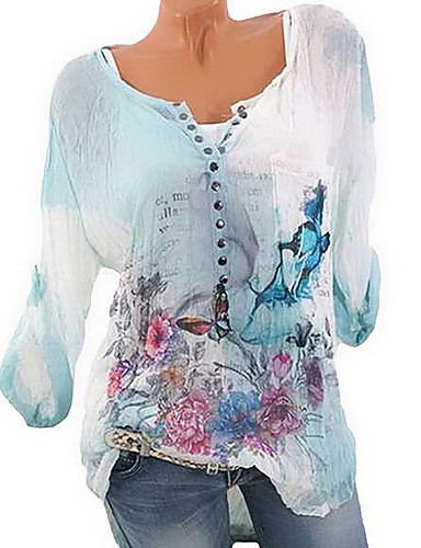 billige Dametopper-V-hals Store størrelser Skjorte Dame - 3D Grunnleggende Blå / Vår / Sommer