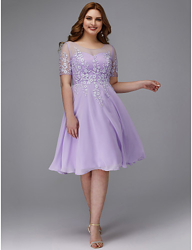 cheap Plus Size Dresses-A-Line Plus Size Purple Homecoming Cocktail Party Dress Illusion Neck Short Sleeve Knee Length Chiffon Lace with Appliques 2020