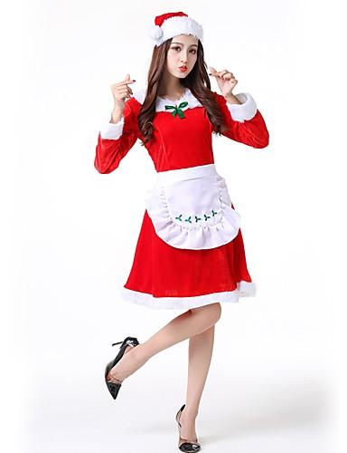 preiswerte Cosplay & Kostüme-Weihnachtsmann kleiden Damen Erwachsene Weiterführende Schule Halloween Weihnachten Weihnachten Halloween Karneval Fest / Feiertage Polyester Austattungen Rote Solide Weihnachten