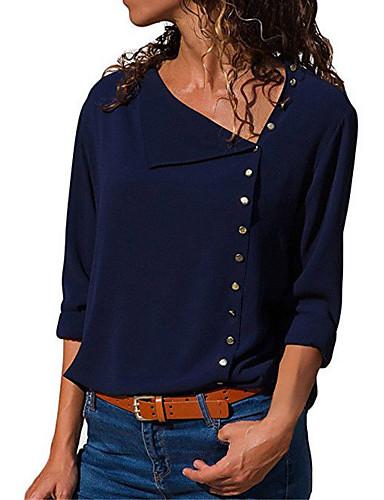 billige Dametopper-Tynn Skjortekrage Skjorte Dame - Ensfarget Grunnleggende Dusty Rose Navyblå