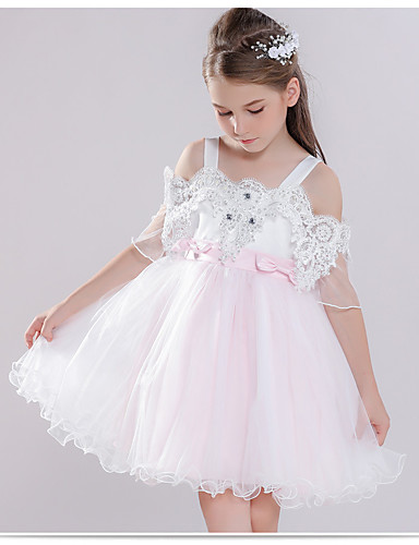 5923538970f Princess Knee Length Flower Girl Dress - Polyester Short Sleeve Off Shoulder  with Embroidery   Lace   Crystals   Rhinestones by LAN TING Express 7028706  ...