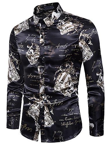levne Pánské košile-Pánské - Geometrický Vintage / Základní Košile Bavlna Černá / Dlouhý rukáv