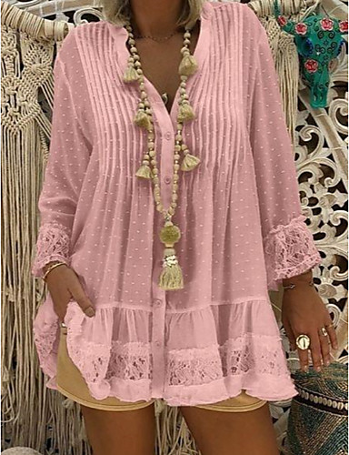 billige T-skjorter til damer-Blonder V-hals Store størrelser T-skjorte Dame - Helfarge, Blonde Bluser / Bohem Strand Rosa
