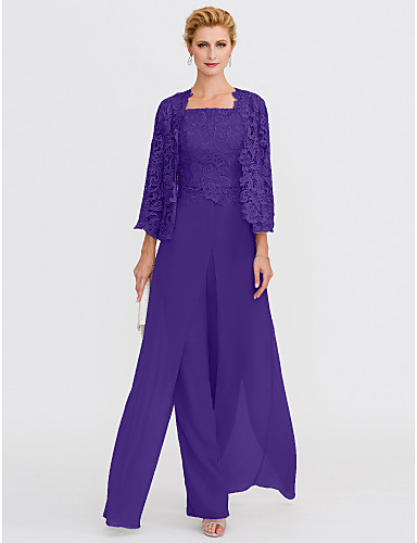 cheap Mother of the Bride Dresses-Pantsuit / Jumpsuit Mother of the Bride Dress Elegant Plus Size Square Neck Floor Length Chiffon Corded Lace Sleeveless with Lace Appliques 2020 Mother of the groom dresses