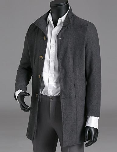 voordelige Herenjacks & jassen-Heren Werk Winter Trenchcoat, Effen Opstaand Polyester Marineblauw / Leger Groen / Rood