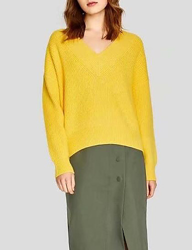 1b01cff8d397 Women s Daily Solid Colored Long Sleeve Loose Regular Pullover