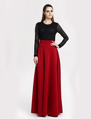 preiswerte Unterteile-Damen Übergrössen Anspruchsvoll Ausgehen Maxi Schaukel Röcke - Solide Künsterlischer Stil Schwarz Rote Wein XXXL XXXXL XXXXXL