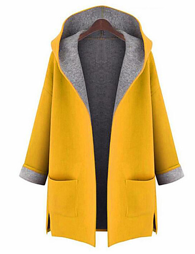 Women's Going out Street chic Fall Plus Size Long Coat, Solid Colored Hooded Long Sleeve Polyester Yellow / Red