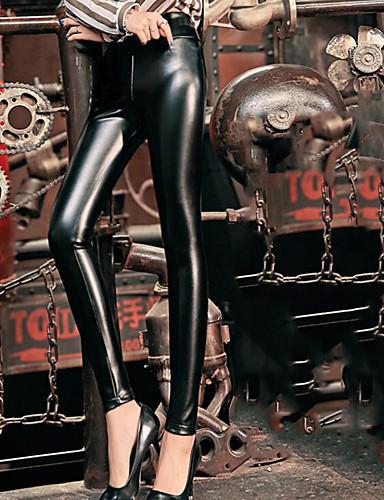 billige Tights til damer-Dame Grunnleggende / Punk & Gotisk Store størrelser Ferie Arbeid Chinos Bukser - Ensfarget Høy Midje PU / Bomull Vinter Svart XXL XXXL XXXXL / Sexy
