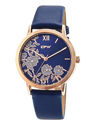 preiswerte Blumen Uhr-Damen Uhr Kleideruhr Japanisch Japanischer Quartz Gestepptes PU - Kunstleder Beige / Elfenbein / Meeresblau 30 m Kreativ Armbanduhren für den Alltag Analog damas Blume Freizeit Beige Blau Elfenbein