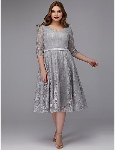 voordelige Grote maten jurken-A-lijn V-hals Over de knie Kant Cocktailparty Jurk met Sjerp / Lint door TS Couture®