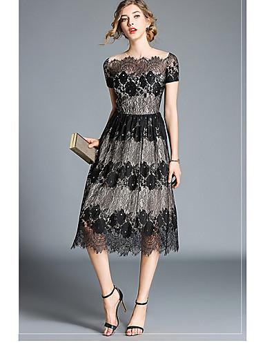 preiswerte Abschlussball-Kleider-Eng anliegend Schulterfrei Tee-Länge Spitze Formeller Abend Kleid mit Spitze durch LAN TING Express