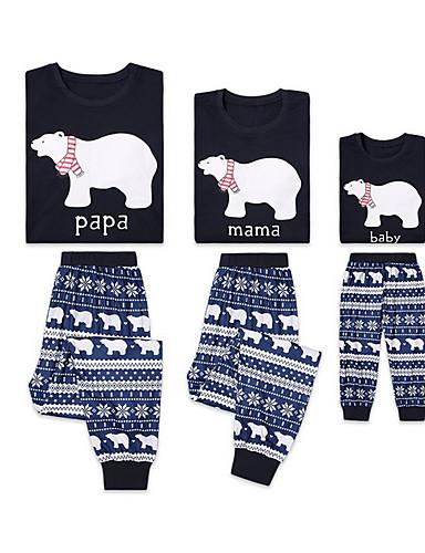 Obiteljski izgled Osnovni Božić Dnevno Životinja Dugih rukava Komplet odjeće Plava